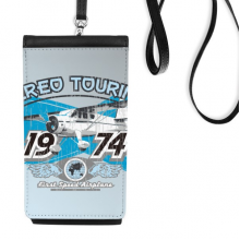 1974 Plane Aereo Touring Pattern Faux Leather Smartphone Hanging Purse Black Phone Wallet Gift