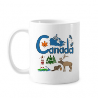 Canada National symbol Landmark  Pattern Classic Mug White Pottery Ceramic Cup With Handle 350ml Gift