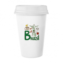 Brazil National symbol Landmark  Pattern Classic Mug White Pottery Ceramic Cup with Lid 350ml Gift