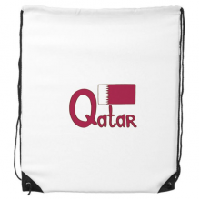 Qatar National Flag Purple Pattern Drawstring Backpack Shopping Sports Bags Gift