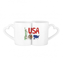 America National symbol Landmark Pattern Love Couple Mugs Set White Pottery Ceramic Cup with Handles Gift