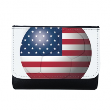 USA National Flag Soccer Football Multi-Function Faux Leather Wallet Card Purse Gift