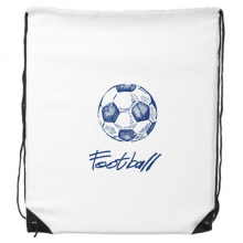 Simple Cartoon Football Blue Pattern Drawstring Backpack Shopping Sports Bags Gift