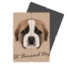 Brown Cute St.Bernard Dog Pet Animal Refrigerator Magnet Puzzle Home Decal Magnetic Sticker set of 4 Gift