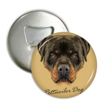 Black Ferocious Rottweiler Dog Pet Animal Round Bottle Opener Refrigerator Magnet Badge Button 3pcs Gift