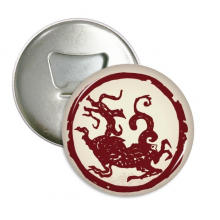 Chinese Dragon Animal Circle Portrait Round Bottle Opener Refrigerator Magnet Badge Button 3pcs Gift