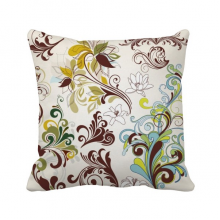 Flower Plants Colorful Art Grain Throw Pillow Square Cover