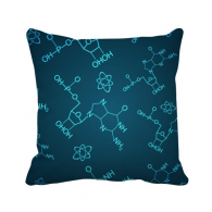 Blue Chemical Molecular Structure Illustration Throw Pillow Square Cover
