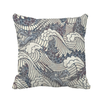 China Blue Dragon Wave Line Painting Repeat Throw Pillow Square Cover
