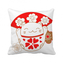 Cherry Blossoms Lucky Fortune Cat Japan Throw Pillow Sleeping Sofa Cushion Cover