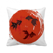 Japan Red Goldfish Circle Portrait Throw Pillow Square Cover