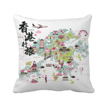 Welcome to China Hong Kong Map Throw Pillow Square Cover