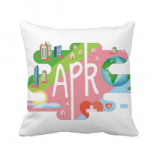 April Month Season Illustration Throw Pillow Square Cover