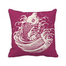 Red Painting Japanese Culture Fish Square Throw Pillow Insert Cushion Cover Home Sofa Decor Gift