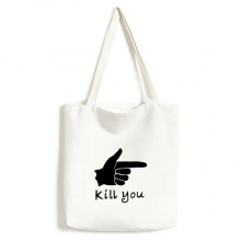 Pistol Shape Personalized Gesture Environmentally Tote Canvas Bag Shopping Handbag Craft Washable