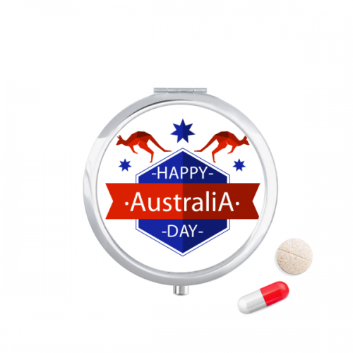 Happy Australia Day Ostrich and Star Illustration Pill Case Pocket Medicine Storage Box Container Dispenser