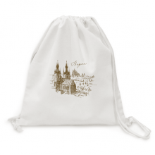 Prague Square Czech Republic Landmark Backpack Canvas Drawstring Reusable Mesh Shopping Bag
