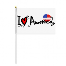 I Love America Word Flag Love Heart Illustration Hand Waving Flag 8x5 inch Polyester Sport Event Procession Parade 4pcs