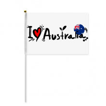 I Love Australia Word Flag Love Heart Illustration Hand Waving Flag 8x5 inch Polyester Sport Event Procession Parade 4pcs