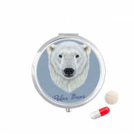White Northern Wild Polar Bear Animal Travel Pocket Pill case Medicine Drug Storage Box Dispenser Mirror Gift