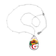 Algiers Algeria National Emblem Teardrop Shape Pendant Necklace Jewelry With Chain Decoration Gift
