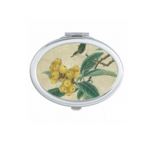 Loquat Embroidered Feather Figure Chinese Painting Oval Compact Makeup Mirror Portable Cute Hand Pocket Mirrors Gift