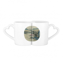 Hills Fishing Boat Chinese Painting Love Couple Mugs Set White Pottery Ceramic Cup with Handles Gift