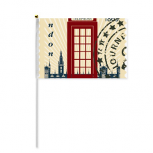 London Telephone Booth Stamp UK Country City Hand Waving Flag 8x5 inch Polyester Sport Event Procession Parade 4pcs