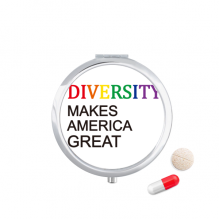 LGBT Rainbow Flag Diversity Makes America Great Pill Case Pocket Medicine Storage Box Container Dispenser