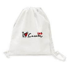 I Love Canada Word Flag Love Heart Illustration Backpack Canvas Drawstring Reusable Mesh Shopping Bag