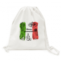 Mexico Sketch Cuisine Flag Round Cactus Canvas Drawstring Backpack Shopping Travel Lightweight Basic Bag Gift