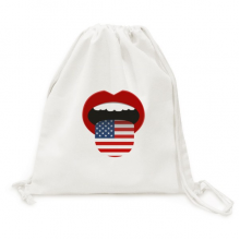 America Flag Red Lips Sexy Girl Canvas Drawstring Backpack Shopping Travel Lightweight Basic Bag Gift