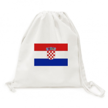 Croatia National Flag Europe Country Backpack Canvas Drawstring Reusable Mesh Shopping Bag