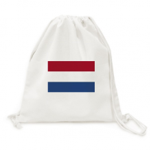 Netherlands National Flag Europe Country Backpack Canvas Drawstring Reusable Mesh Shopping Bag