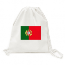 Portugal National Flag Europe Country Backpack Canvas Drawstring Reusable Mesh Shopping Bag