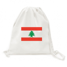 Lebanon National Flag Asia Country Backpack Canvas Drawstring Reusable Mesh Shopping Bag
