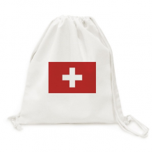 Switzerland National Flag Europe Country Backpack Canvas Drawstring Reusable Mesh Shopping Bag
