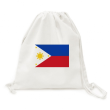Philippines National Flag Asia Country Backpack Canvas Drawstring Reusable Mesh Shopping Bag