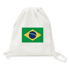 Brazil National Flag South America Country Backpack Canvas Drawstring Reusable Mesh Shopping Bag