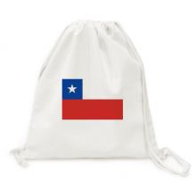 Chile National Flag South America Country Canvas Drawstring Backpack Travel Shopping Bags