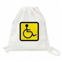 Warning Symbol Yellow Black Disabled Person Square Canvas Drawstring Backpack Travel Shopping Bags