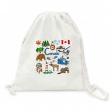 Canada Landscap Animals National Flag Canvas Drawstring Backpack Travel Shopping Bags