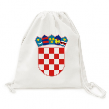 Croatia National Emblem Country Canvas Drawstring Backpack Shopping Travel Lightweight Basic Bag Gift