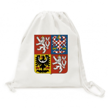 Czech National Emblem Country Canvas Drawstring Backpack Shopping Travel Lightweight Basic Bag Gift