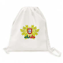 Portugal National Emblem Country Backpack Canvas Drawstring Reusable Mesh Shopping Bag