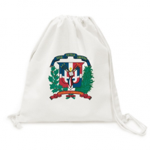 Dominican Republic National Emblem Country Canvas Drawstring Backpack Travel Shopping Bags