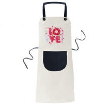 Valentine's Day Pink Love Painting Apron Adjustable Bib Cotton Linen BBQ Kitchen Pocket Pinafore