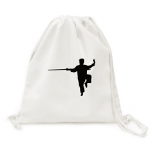 China Chinese Shaolin Stick Martial Art Canvas Drawstring Backpack Shopping Travel Lightweight Basic Bag Gift