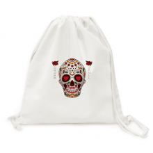 Flower Cirrus Eyes White Sugar Skull Canvas Drawstring Backpack Shopping Travel Lightweight Basic Bag Gift