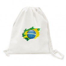 Brazil Flag Culture Element Map Canvas Drawstring Backpack Shopping Travel Lightweight Basic Bag Gift